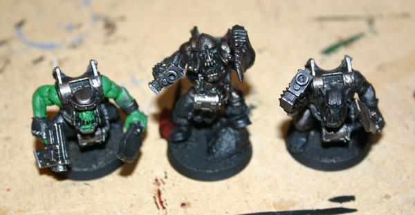 The boyz models were given a black undercoat (spray) and then touched up with a watered down Chaos Black paint.