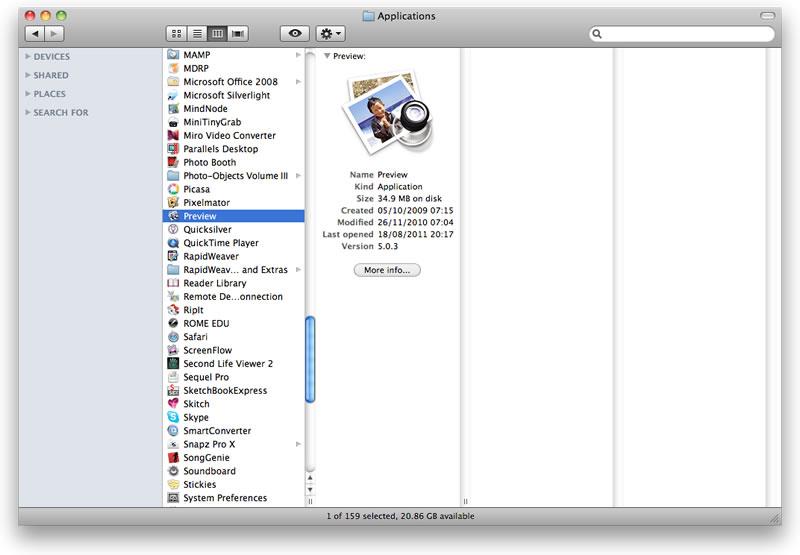 Finder Views OS X Snow Leopard