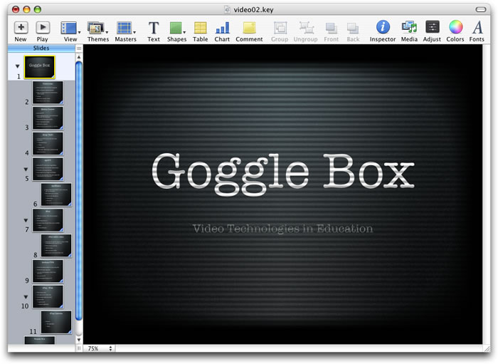 Convert a Keynote presentation into a video file (Quicktime Movie file)